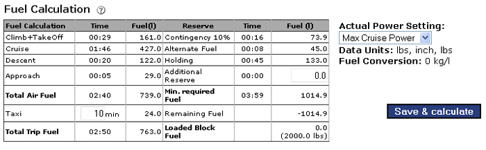 Fuel Calculation - Flightplan Documentation MT BlitzPlan